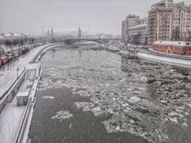 Moskva river is frozen stock images
