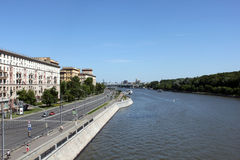 The Moskva-river and Frunzenskaya embankment in Moscow. View from Novoandreevsky bridge, Moscow, Russia Royalty Free Stock Photo