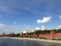 Moskva River. With the kremlin on the background in Moscow, Russia Royalty Free Stock Images