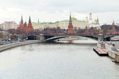 Moskva River and Kremlin in Moscow in autumn day Royalty Free Stock Image