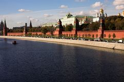 Moskva river, Kremlin, Russia, Moscow. Moskva river, Kremlin wall, Annunciation cathedral and Assumption cathedral, Russia, Moscow Stock Photos
