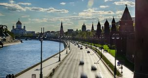 Moskva River and Kremlin stock footage