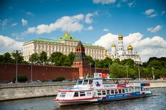 Moskva River, Moscow. Moskva river cruise through the center of Moscow aboard a modern Snegiri ferry boat . Admire some of the most magnificent attractions of stock photo