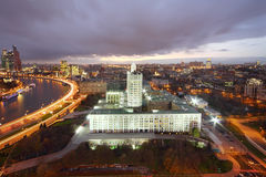 Moskva River and Russian government building at evening Stock Photos