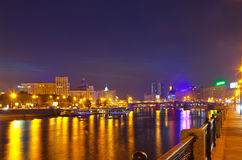 Moskva River in summer night Royalty Free Stock Photography