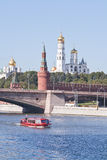 Moskva River and towers of Kremlin Royalty Free Stock Photo