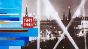 MOSKVA RUSSIA-APRIL 19: festlig garnering av fasaden av Arkivfoto