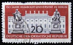 MOSKVA RYSSLAND - APRIL 2, 2017: En stolpestämpel som skrivs ut i DDR (ger Royaltyfria Foton