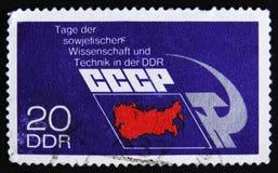 MOSKVA RYSSLAND - APRIL 2, 2017: En stolpestämpel som skrivs ut i DDR (ger Royaltyfri Foto