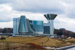 Moskva Ryssland - April 18, 2015 Huset av den MoskvaOblast regeringen Konstruktion av huset startades i 2004 och avslutade i 200 Arkivfoton