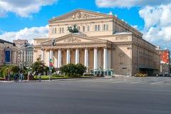 Moskva Ryssland - 16 Augusti 2016: Bolshoi teater, Ohotniy Ryad gata Den mest berömda teatern av Ryssland Royaltyfria Bilder