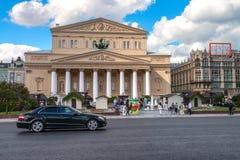 Moskva Ryssland - 16 Augusti 2016: Bolshoi teater, Ohotniy Ryad gata Den mest berömda teatern av Ryssland Arkivfoto