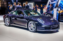 MOSKVA RYSSLAND - AUGUSTI 2012: Prese KUPÉ 991 för PORSCHE 911 CARRERA S Arkivbild