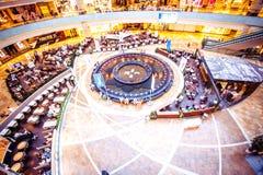 MOSKVA RYSSLAND, 9 AUGUSTI, 2014 Shoppingkomplex Arkivbilder