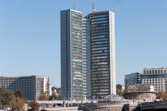 Moskva Ryssland - 09 21 2015 byggnad av Moskvastadsstyrelsen på Novy Arbat Arkivbilder