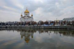 MOSKVA RYSSLAND - DECEMBER 20, 2017: domkyrkan av Kristus frälsaren Royaltyfria Foton