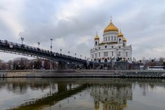 MOSKVA RYSSLAND - DECEMBER 20, 2017: domkyrkan av Kristus frälsaren Fotografering för Bildbyråer