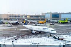 MOSKVA RYSSLAND - DECEMBER 18, 2017: Flygbussen A 321-200, Lufthansa flygbolag på den internationella flygplatsen Domodedovo Kopi Royaltyfri Bild