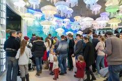 Moskva Ryssland - December 10 2016 Folket står i linjen för utställning i Oceanarium i Krasnogorsk invigningsdagen Fotografering för Bildbyråer