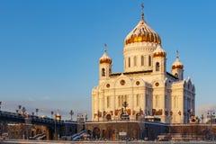 Moskva Ryssland - Februari 01, 2018: Domkyrka av Kristus frälsaren på den soliga vintermorgonen moscow vinter Royaltyfri Foto