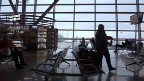 MOSKVA RYSSLAND - FEBRUARI 18, 2019: Flygplatsterminal mot glasväggfönster Parkerad trafikflygplan som utanför ses, molnig himmel arkivfilmer
