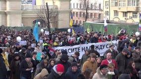 Moskva Ryssland - Februari 27, 2016 Mars i minne av Boris Ne lager videofilmer