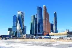 Moskva Ryssland - Februari 14, 2019: Moskva-stad för Expocenter och för Moskva internationell affärsmitt på en frostig dag för lj royaltyfri fotografi