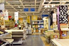 MOSKVA RYSSLAND - 24 09 2015 Inre av shoppar Hoff - en av det största ryska möblemangnätverket Arkivbilder