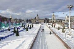 MOSKVA RYSSLAND - Januari 20, 2017: Åka skridskor isbanan på VDNKh parkera Arkivfoton