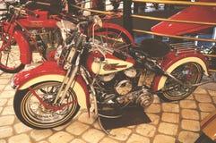 MOSKVA RYSSLAND - JANUARI 6, 2018: Vadim Zadorozhny Technology Museum motorcykel Harley-Davidson arkivbilder