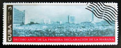 MOSKVA RYSSLAND - JULI 15, 2017: En stämpel som skrivs ut i Kuba, ägnar Royaltyfri Foto