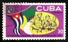 MOSKVA RYSSLAND - JULI 15, 2017: En stämpel som skrivs ut i Kuba, visar ar Arkivbilder