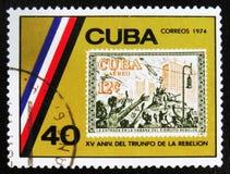 MOSKVA RYSSLAND - JULI 15, 2017: En stämpel som skrivs ut i Kuba, visar beträffande Arkivbilder