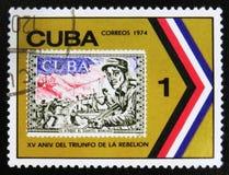 MOSKVA RYSSLAND - JULI 15, 2017: En stämpel som skrivs ut i Kuba, visar beträffande Royaltyfri Foto