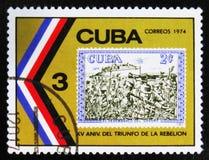 MOSKVA RYSSLAND - JULI 15, 2017: En stämpel som skrivs ut i Kuba, visar beträffande Royaltyfria Foton