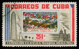 MOSKVA RYSSLAND - JULI 15, 2017: En stämpel som skrivs ut i Kuba, visar ci Royaltyfria Bilder