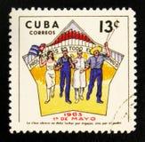 MOSKVA RYSSLAND - JULI 15, 2017: En stämpel som skrivs ut i Kuba, visar Cu Royaltyfria Foton