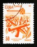 MOSKVA RYSSLAND - JULI 15, 2017: En stämpel som skrivs ut i Kuba, visar Cu Royaltyfri Bild
