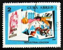 MOSKVA RYSSLAND - JULI 15, 2017: En stämpel som skrivs ut i Kuba, visar Pe Royaltyfria Bilder