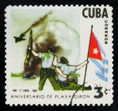 MOSKVA RYSSLAND - JULI 15, 2017: En stämpel som skrivs ut i Kuba, visar th Arkivfoton