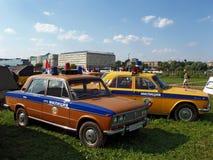 MOSKVA RYSSLAND - Juli 15, 2008: För Lada för polisbil Autoexotic för ` utställning 2008 `, Arkivbilder