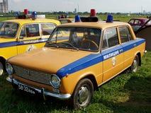 MOSKVA RYSSLAND - Juli 15, 2008: För Lada för polisbil Autoexotic för ` utställning 2008 `, Arkivfoton