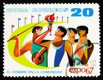 MOSKVA RYSSLAND - JULI 15, 2017: Sällsynt stämpel som skrivs ut i Kubashower Arkivbilder