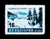 MOSKVA RYSSLAND - JUNI 26, 2017: En stämpel som skrivs ut i Bulgarienshow Royaltyfria Foton