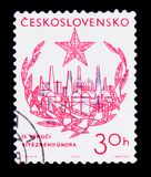 MOSKVA RYSSLAND - JUNI 20, 2017: En stämpel som skrivs ut i Czechoslovaki Royaltyfri Bild