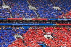 Moskva Ryssland - Juni 14, 2018: Fans på den stadionLuzhniki raien Fotografering för Bildbyråer