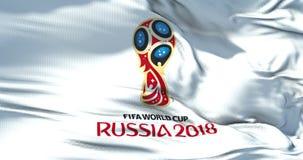 Moskva Ryssland, Juni 14 2018, FIFA - vinkande tygtextur av flaggan av den officiella logoen av koppen för fotbollvärldsmästerska