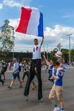 Moskva Ryssland - Juni 26, 2018: Fotbollfans på Moskvagatadur Royaltyfri Bild