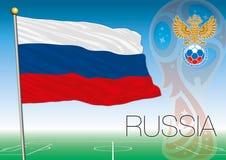 MOSKVA RYSSLAND, juni-juli 2018 - Ryssland logo för 2018 världscup och flaggan av Ryssland Fotografering för Bildbyråer