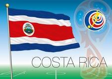 MOSKVA RYSSLAND, juni-juli 2018 - Ryssland logo för 2018 världscup och flaggan av Costa Rica Royaltyfria Bilder